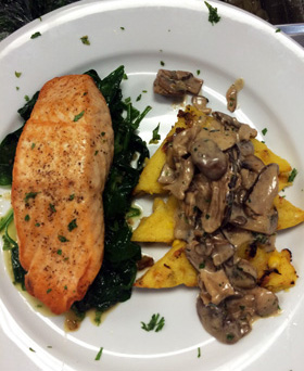 Pan Seared Salmon with Grilled Polenta and Mushroom Ragout